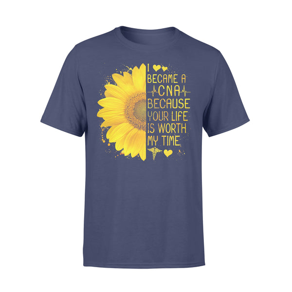 I Became A Cna Because Your Life Is Worth My Time Heartbeat Sunflower T-shirt XL By AllezyShirt