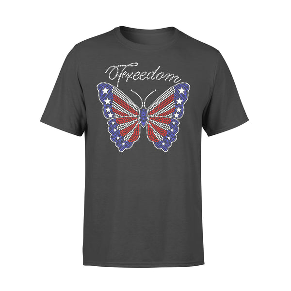 Butterfly Freedom 4Th Of July Usa Flag Glitter T-shirt L By AllezyShirt