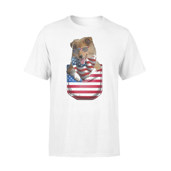 Rough Collie Pocket American Flag Independence Day T-shirt L By AllezyShirt