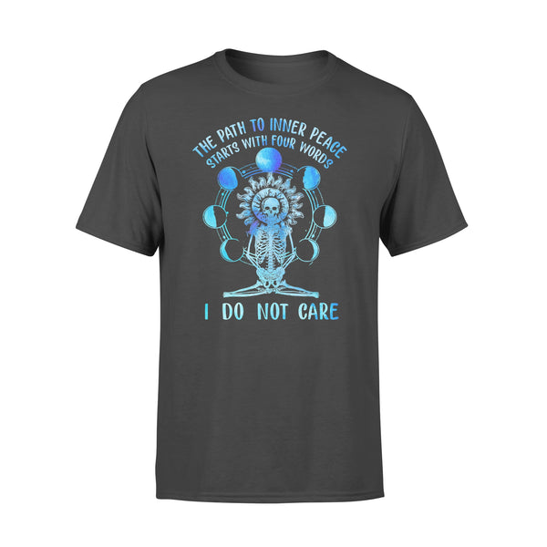 Yoga Skull The Path To Inner Peace Starts With Four Words I Do Not Care Colorful T-shirt L By AllezyShirt