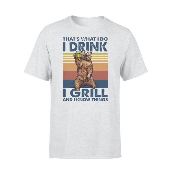 Bear Drinling Beer That'S What I Do I Drink I Grill And I Know Things Vintage T-shirt XL By AllezyShirt