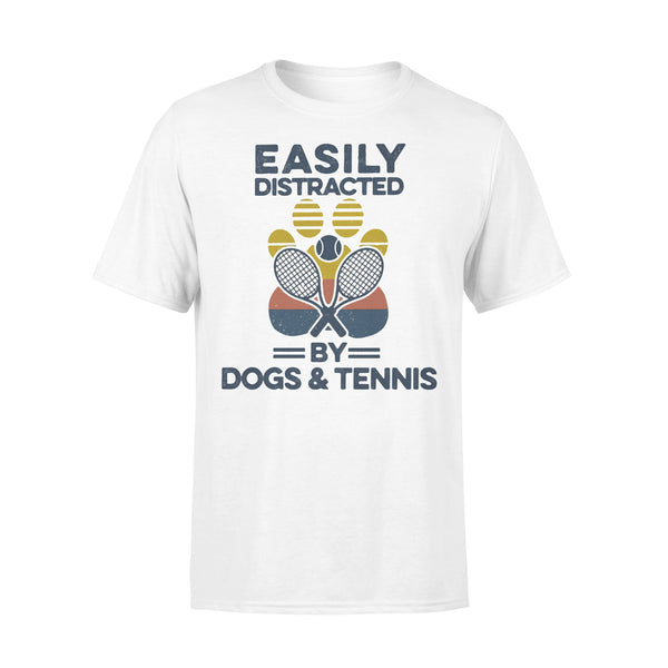 Easily Distracted By Dogs And Tennis Footprint Vintage Retro T-shirt L By AllezyShirt