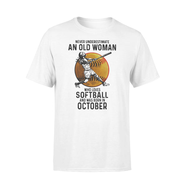 Never Underestimate An Old Woman Who Loves Softball And Was Born In October Blood Moon T-shirt L By AllezyShirt