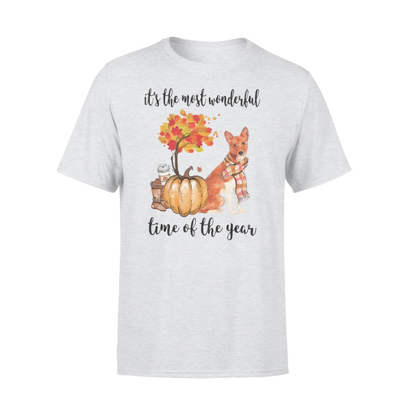 Fall Pumpkin It's The Most Wonderful Time Of The Year Basenji T-Shirt XL By AllezyShirt