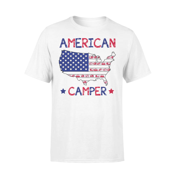 4Th Of July American Camper Independence Day T-shirt L By AllezyShirt