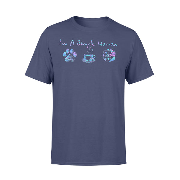 I'm A Simple Woman I Love Dog Paw Coffee DnD Colorful T-shirt XL By AllezyShirt