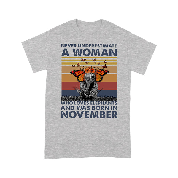 Never Underestimate A Woman Who Loves Elephants And Was Born In November Butterfly Vintage Retro T-shirt XL By AllezyShirt