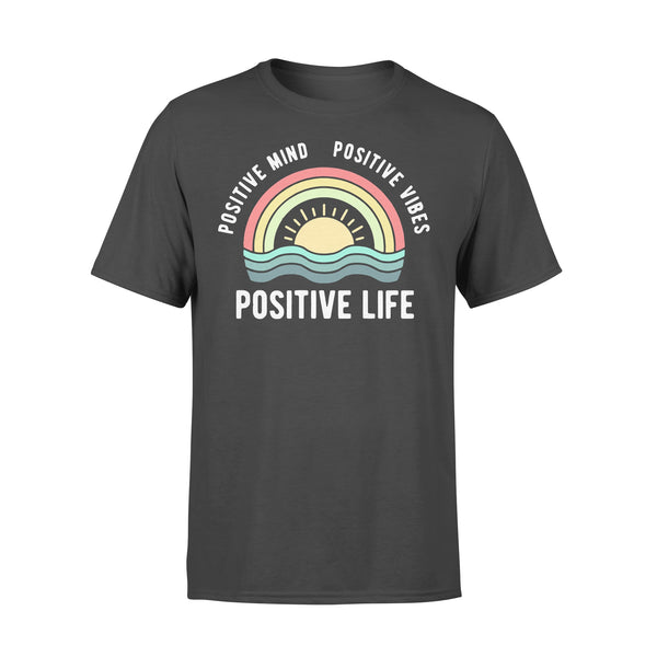 Positive Mind Positive Vibes Positive Life Rainbow T-shirt L By AllezyShirt