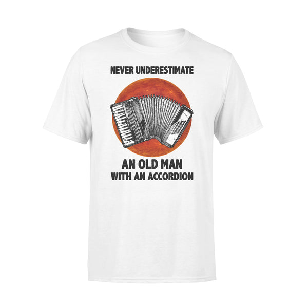 Never Underestimate An Old Man With A Accordion Blood Moon T-shirt L By AllezyShirt