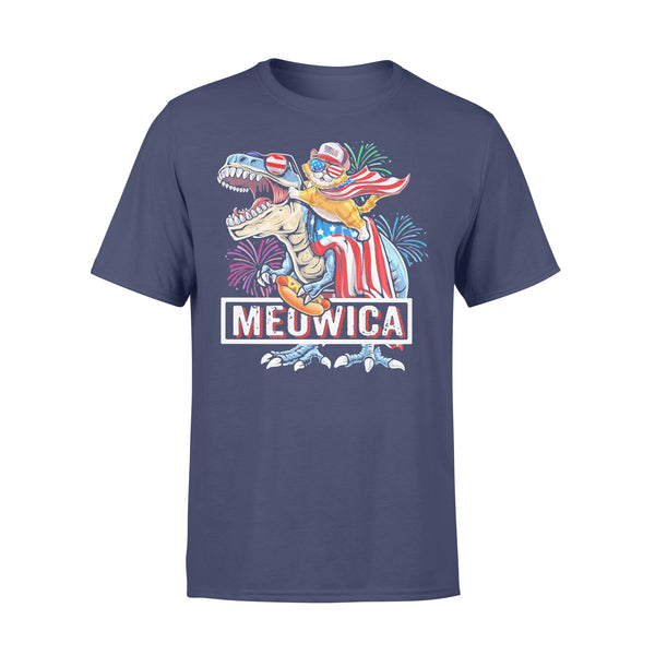 Meowica Dinosaur Cat Firework American Flag Independence Day T-shirt XL By AllezyShirt