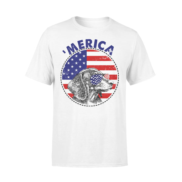 Dachshund 'Merica Flag Sunglasses Vintage 4th of July USA T-shirt L By AllezyShirt