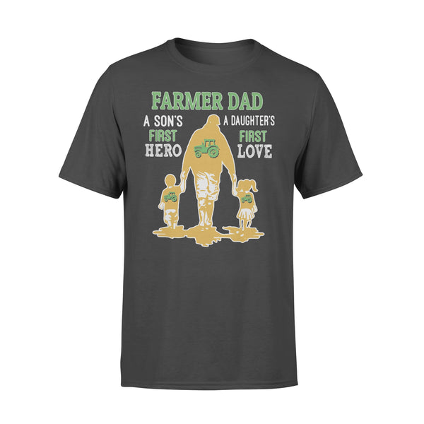 Farmer Tractor Dad A Son's First Hero A Daughter's First Love Dad Happy Father's Day T-shirt L By AllezyShirt