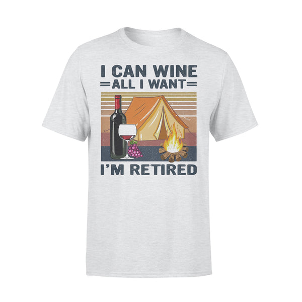 Camping I Can Wine All I Want I'm Retired Vintage Retro  T-shirt XL By AllezyShirt