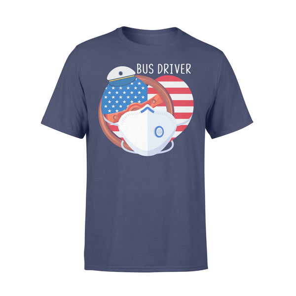 Proud Bus Driver American Flag Heart Covid-19 Shirt