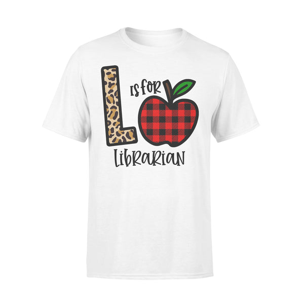 L Is For Librarian Apple Buffalo Plaid T-shirt L By AllezyShirt