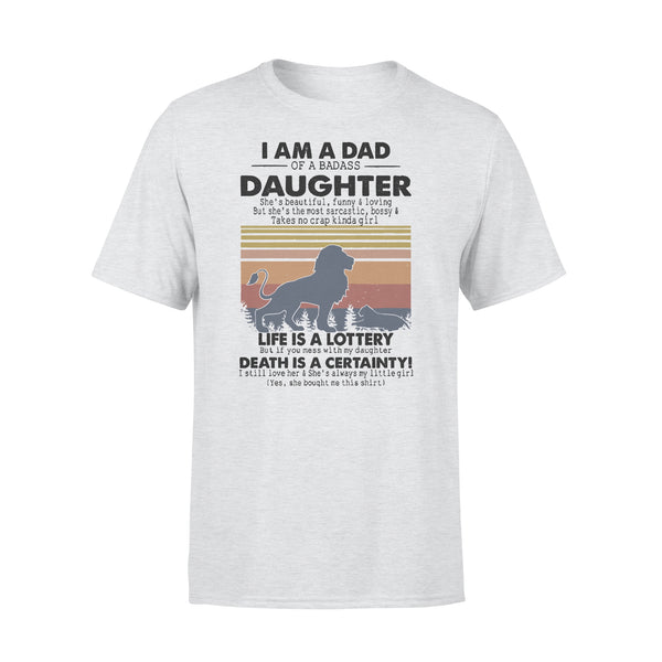 I Am A Dad Daughter Life Is A Lottery Death Is A Certainty Lion Vintage T-shirt XL By AllezyShirt