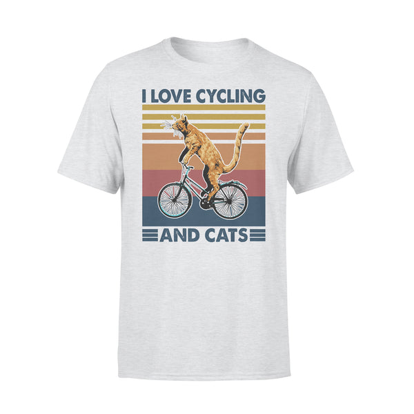 I Love Cycling And Cats Vintage Retro T-shirt XL By AllezyShirt