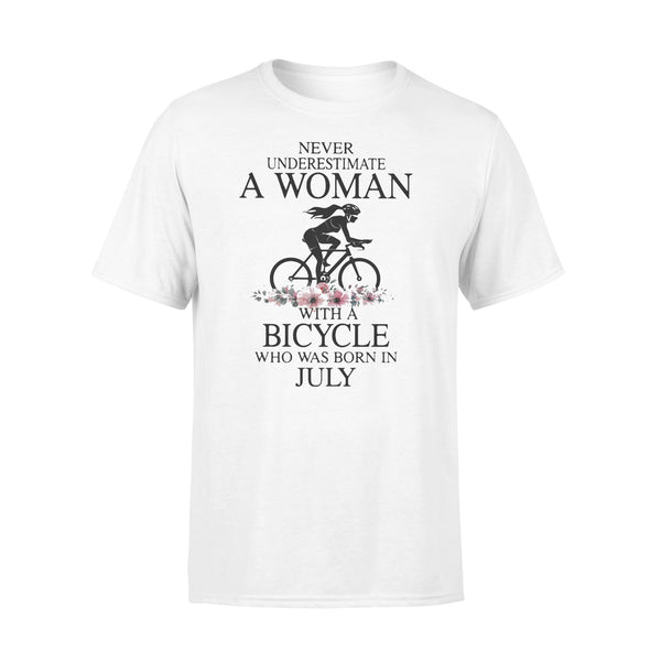 Never Underestimate A Woman With A Bicycle Who Was Born In July Flowers T-shirt L By AllezyShirt