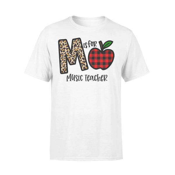 M Is For Music Teacher Apple Buffalo Plaid T-shirt L By AllezyShirt