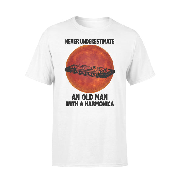 Never Underestimate An Old Man With A Harmonica Blood Moon T-shirt L By AllezyShirt
