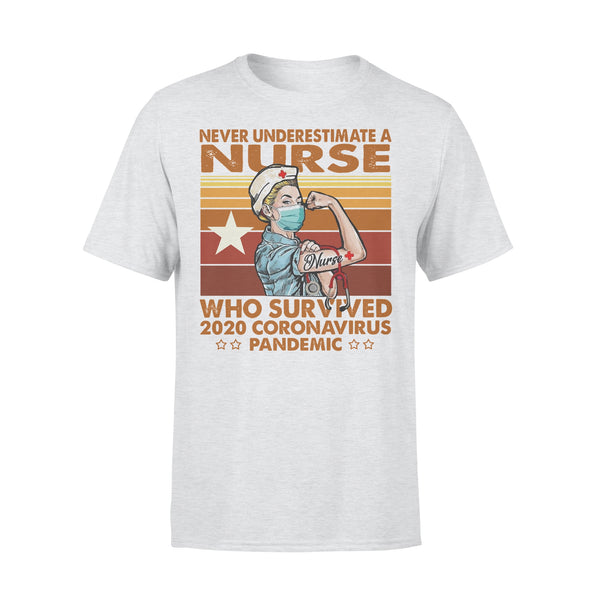Proud Nurse Never Underestimate A Nurse Who Survived 2020 Coronavirus Pandemic Vintage T-shirt XL By AllezyShirt