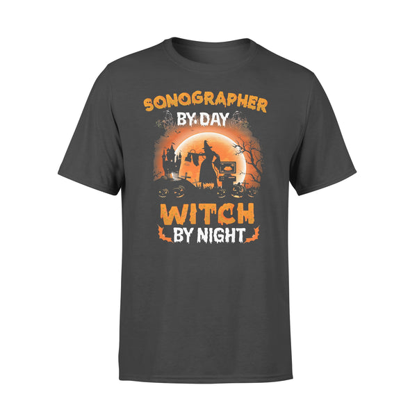 Sonographer By Day Witch By Night Halloween Blood Moon T-shirt L By AllezyShirt