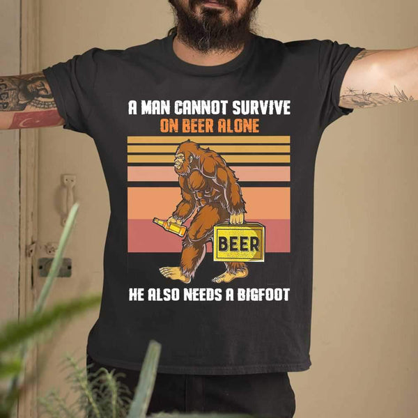 A Man Cannot Survive On Beer Alone He Also Needs A Bigfoot Vintage T-shirt M By AllezyShirt