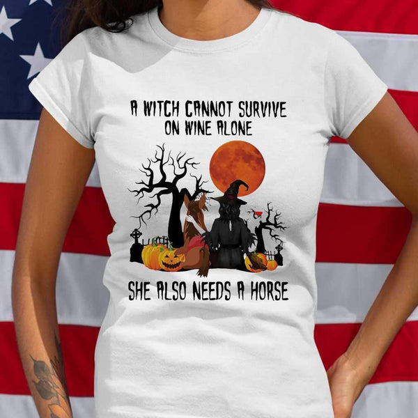 A Witch Cannot Survive On Wine Alone Sje Also Needs A Horse Blood Moon T-shirt M By AllezyShirt