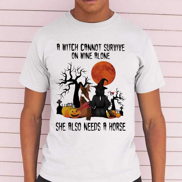 A Witch Cannot Survive On Wine Alone Sje Also Needs A Horse Blood Moon T-shirt S By AllezyShirt
