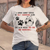 A Woman Cannot Survive On Self-Quarantine Alone She Also Needs Her Dog And Basketball Soccer Covid-19 T-Shirt S By AllezyShirt