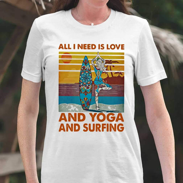 All I Need Is Love And Yoga And Surfing Vintage Retro T-shirt M By AllezyShirt