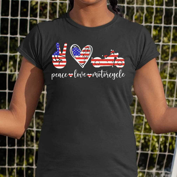 American Flag Peace Love Motorcycle T-shirt S By AllezyShirt