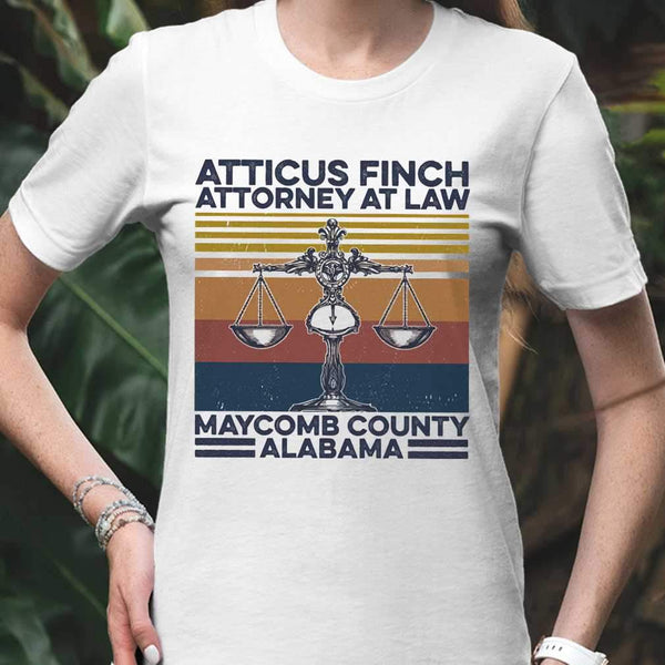 Atticus Finch Attorney At Law Maycomb County Alabama Vintage Retro T-shirt M By AllezyShirt