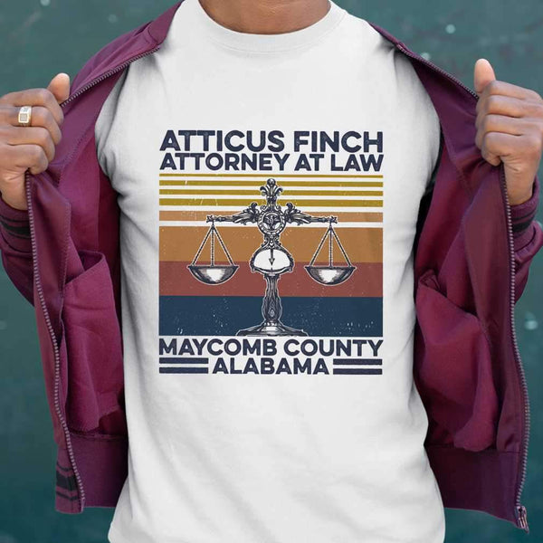 Atticus Finch Attorney At Law Maycomb County Alabama Vintage Retro T-shirt S By AllezyShirt