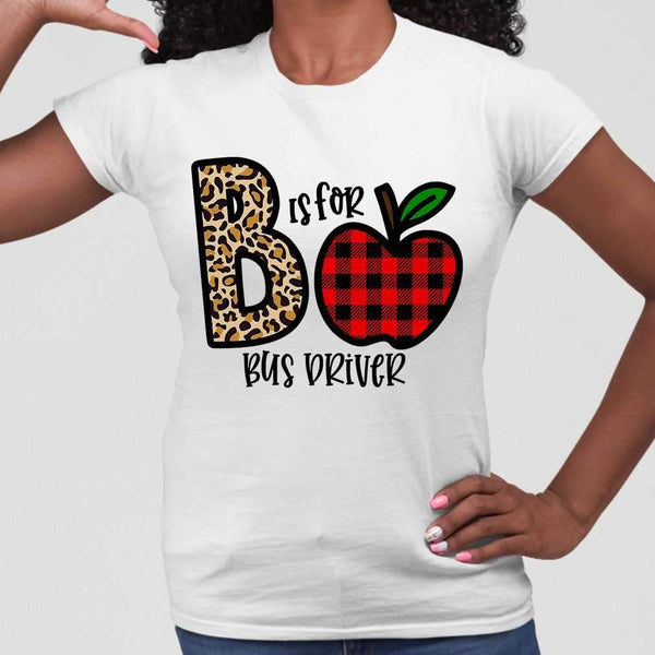 B Is For Bus Driver Apple Buffalo Plaid T-shirt S By AllezyShirt