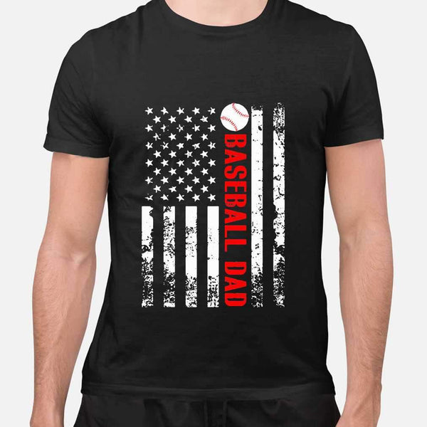Baseball Dad Father's Day American Flag Independence Day T-shirt M By AllezyShirt