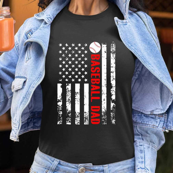 Baseball Dad Father's Day American Flag Independence Day T-shirt S By AllezyShirt