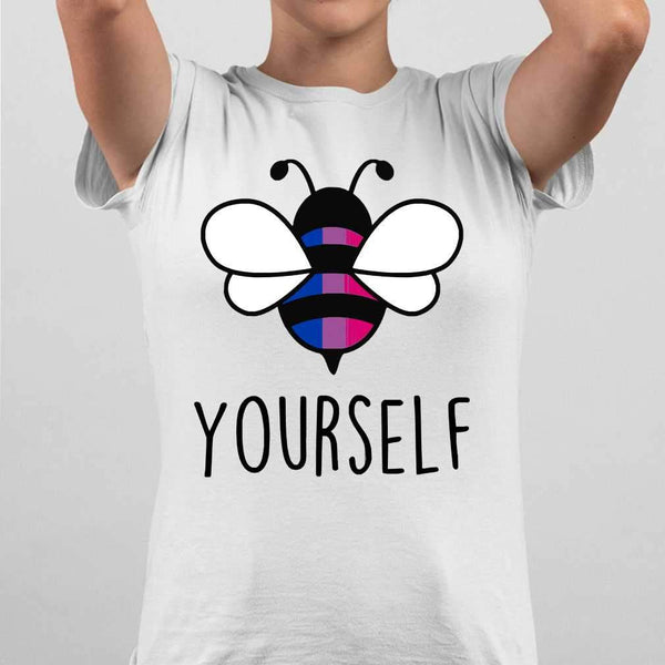 Bee YourSelf Bisexual Bee Gay Pride LGBT Rainbow T-shirt S By AllezyShirt
