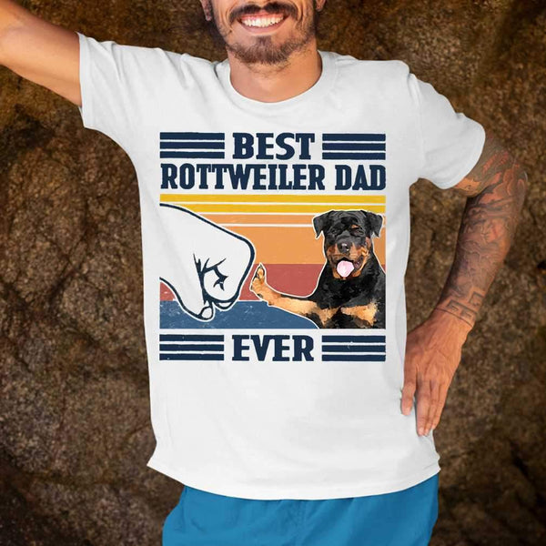 Best Rottweiler Dad Ever Vintage Father's Day T-shirt S By AllezyShirt