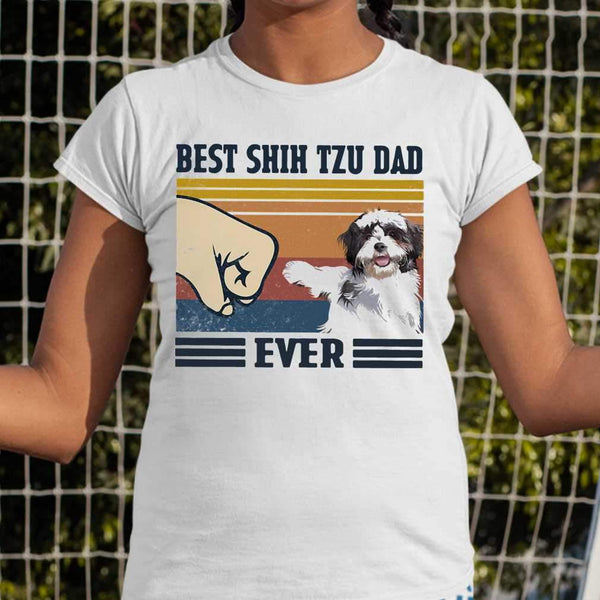 Best Shih Tzu Dad Ever Vintage T-shirt M By AllezyShirt
