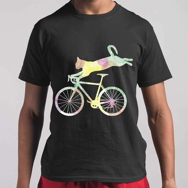 Bicycle Cat Cycling Colorful T-shirt S By AllezyShirt
