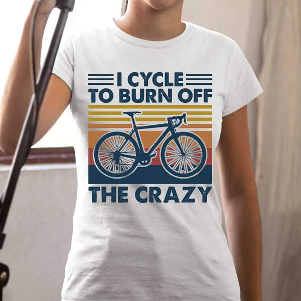 Bicycle I Cycle To Burn Off The Crazy Vintage Retro T-shirt M By AllezyShirt