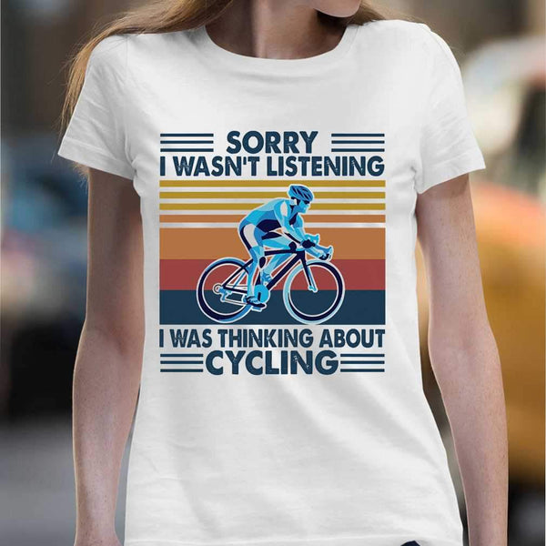 Bicycle Sorry I Wasn't Listening I Was Thinking About Cycling Vintage Retro T-shirt M By AllezyShirt