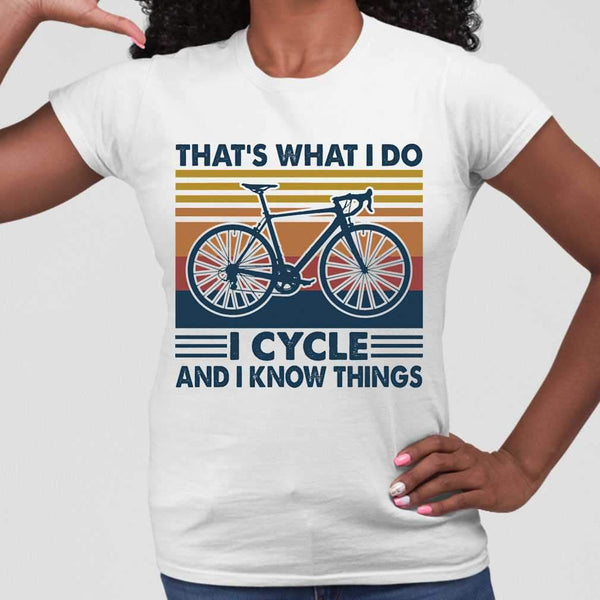 Bicycle That's What I Do I Cycle And I Know Things Vintage Retro T-shirt M By AllezyShirt