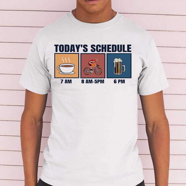Bicycle Today's Schedule Coffee Cycling Beer T-shirt S By AllezyShirt