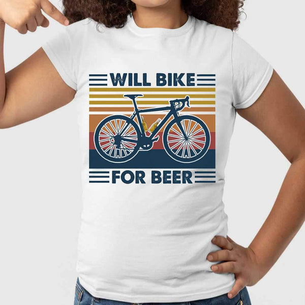 Bicycle Will Bike For Beer Vintage Retro T-shirt S By AllezyShirt