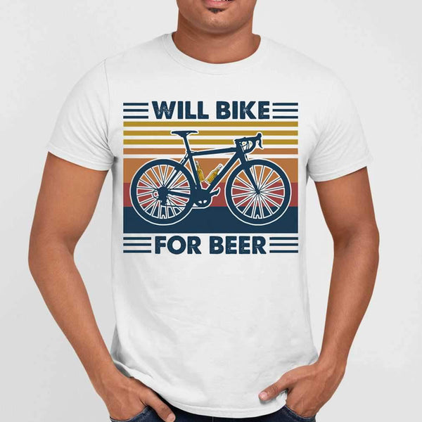 Bicycle Will Bike For Beer Vintage Retro T-shirt M By AllezyShirt
