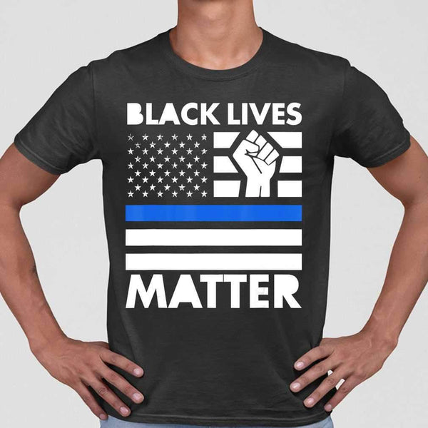 Black Lives Matters Blue Thin Line American Flag T-shirt M By AllezyShirt