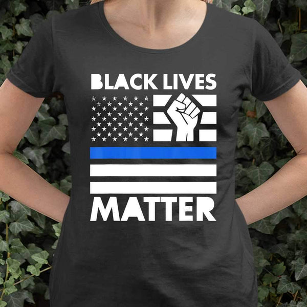 Black Lives Matters Blue Thin Line American Flag T-shirt S By AllezyShirt
