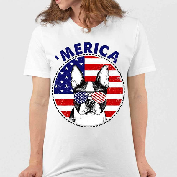 Boston Terrier 'Merica Flag Sunglasses Vintage 4th of July USA T-shirt M By AllezyShirt
